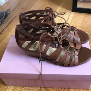 Wedged gladiator brown sandals